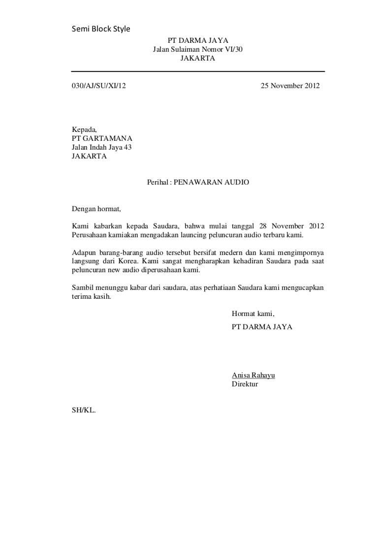 Contoh Surat Full Block Style Penawaran Barang Beserta Cuitan Dokter