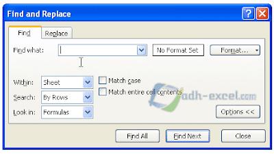 adh-excel.com Find & Replace Sub Menu Find