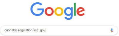 Image of Google search bar with search phrase cannabis regulation site:.gov