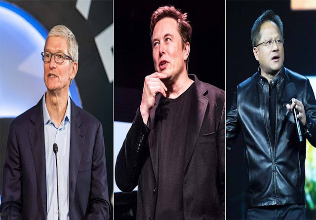 Tim Cook, Elon Musk E Jensen Huang