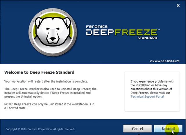 cara uninstall deep freeze