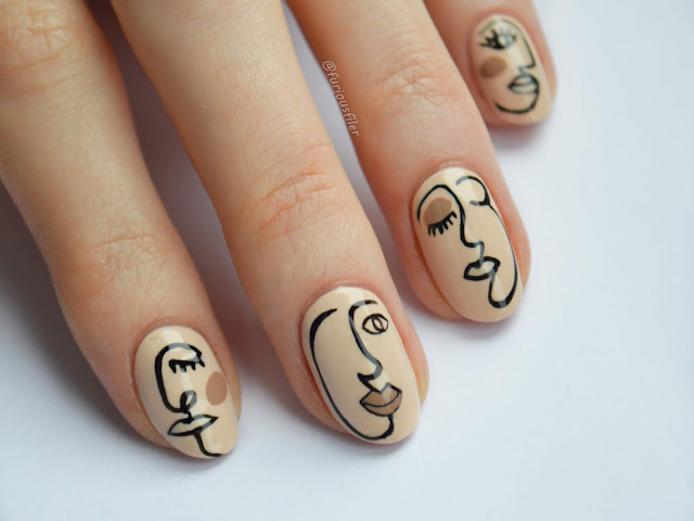 nude abstract outline face nails furious filer