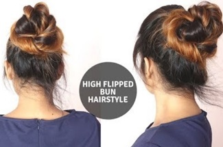 High Messy Flipped Bun Hairstyle Foe Medium To Long Hair /Self Hairstyle