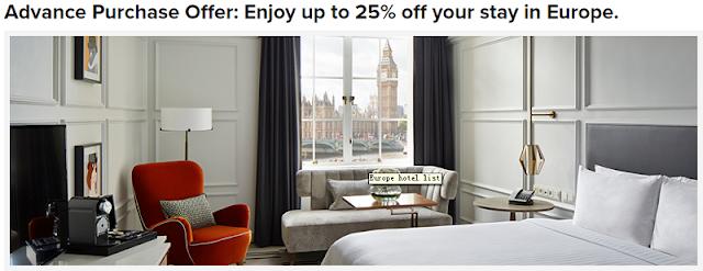 入住Marriott萬豪歐洲酒店 可享受早鳥價最高25%優惠!
