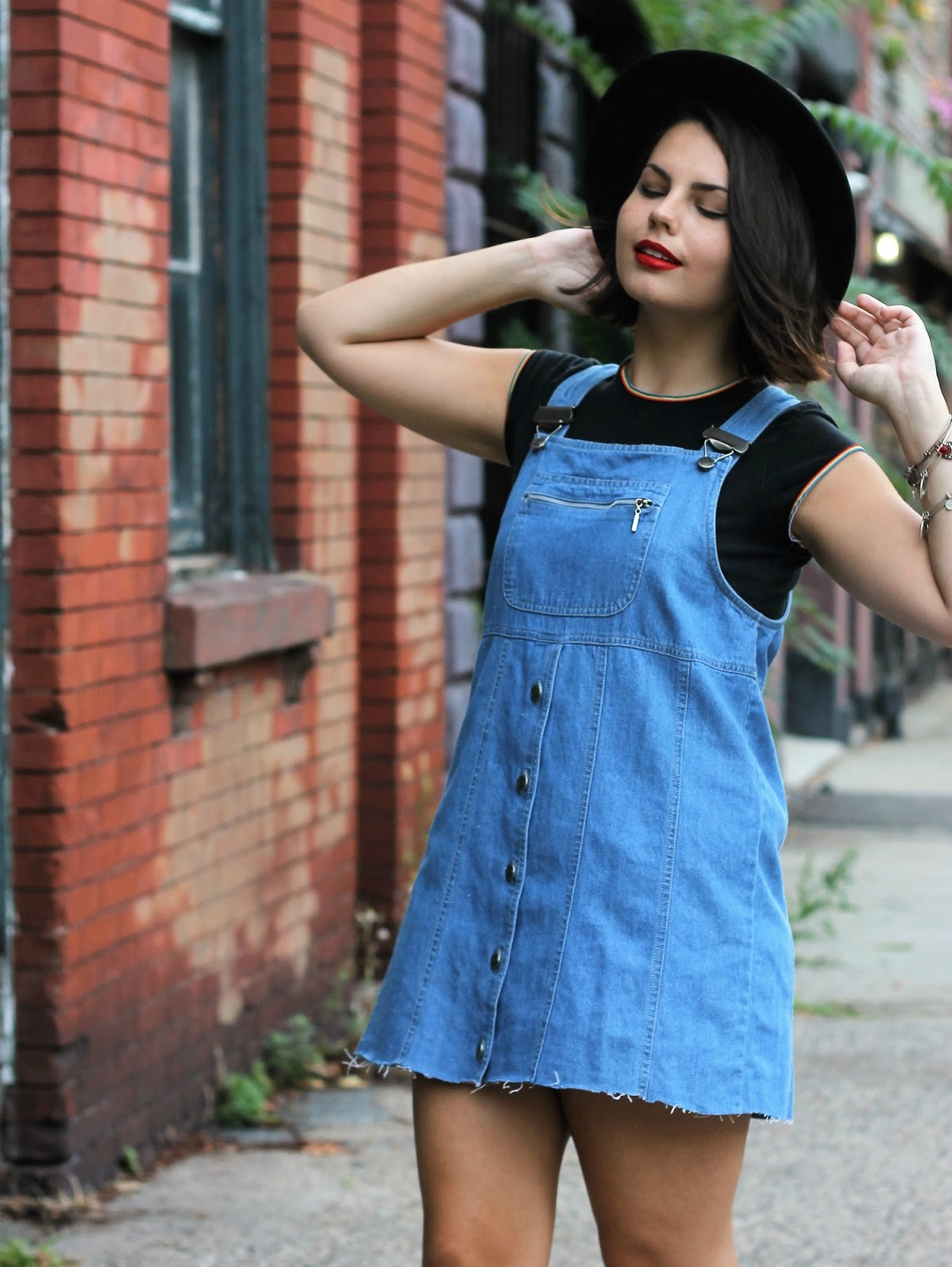 how to style a denim overall dress