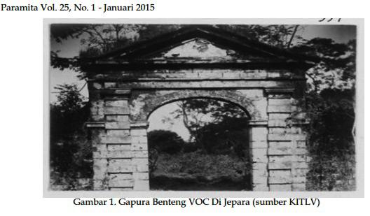Gapura Benteng VOC di Jepara/Dok. Jurnal Paramita Vol 25(1) Januari 2015