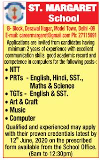 Delhi, St.Margaret School PRT, TGT Teacher Recruitment 2020