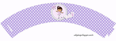 Ballerina in Purple: Free Printable Wrappers and Toppers for Cupcakes.
