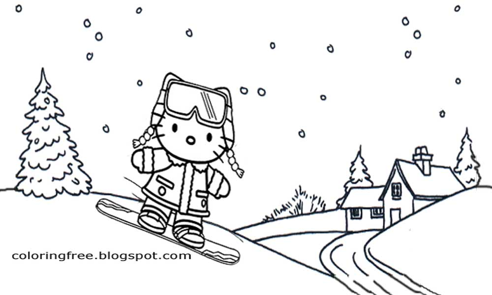 Simple Cartoon Hello Kitty Christmas Printable Winter Sports Girls Snowboard Coloring Pages Scenery