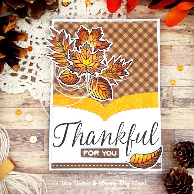 Sunny Studio Stamps: Elegant Leaves Customer Card by Terri Burson
