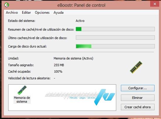 eBoostr 4.5.0 Programa para Usar USB o Disco Duro como RAM en Español