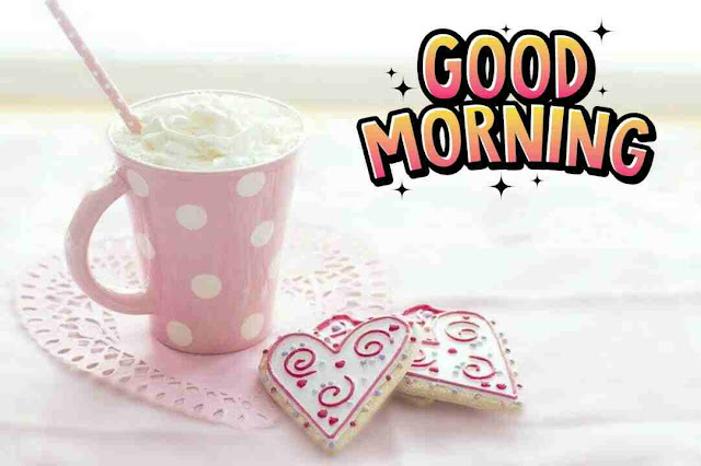 Awesome good morning image of heart shape drink