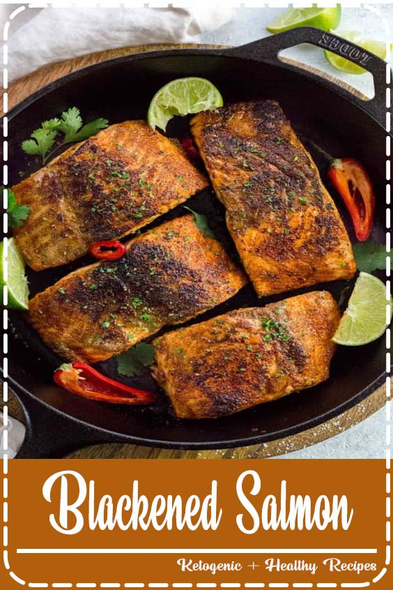 Blackened salmon with bold spices is a tasty dinner made in just  Blackened Salmon