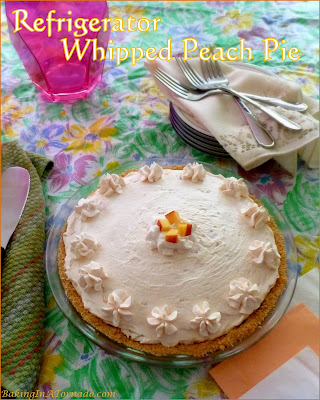 Refrigerator Whipped Peach Pie is an easy, no bake dessert. It's light and fluffy and full of peach flavor. | Recipe developed by www.BakingInATornado.com | #recipe #pie