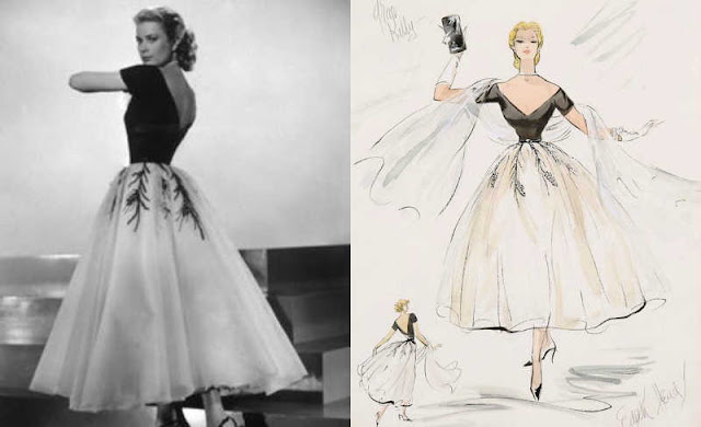 grace kelly black and white dress