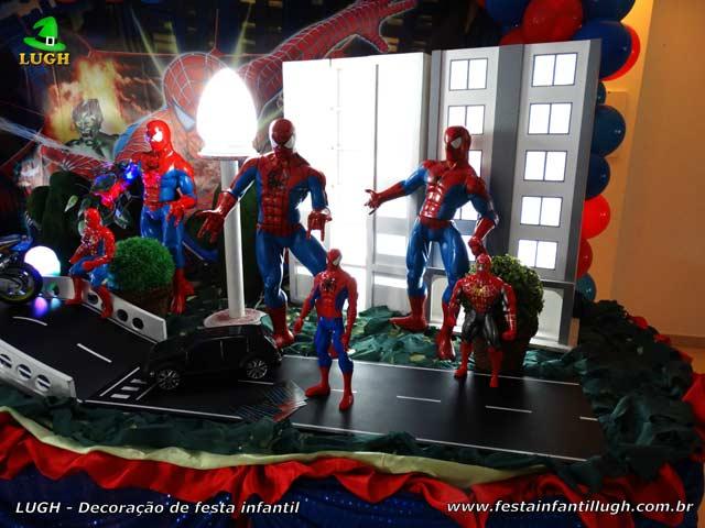 Decoração de festa infantil do Homem Aranha - Mesa de aniversário luxo