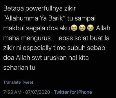 Betapa Powernya Zikir Allhumma Yaa Barik