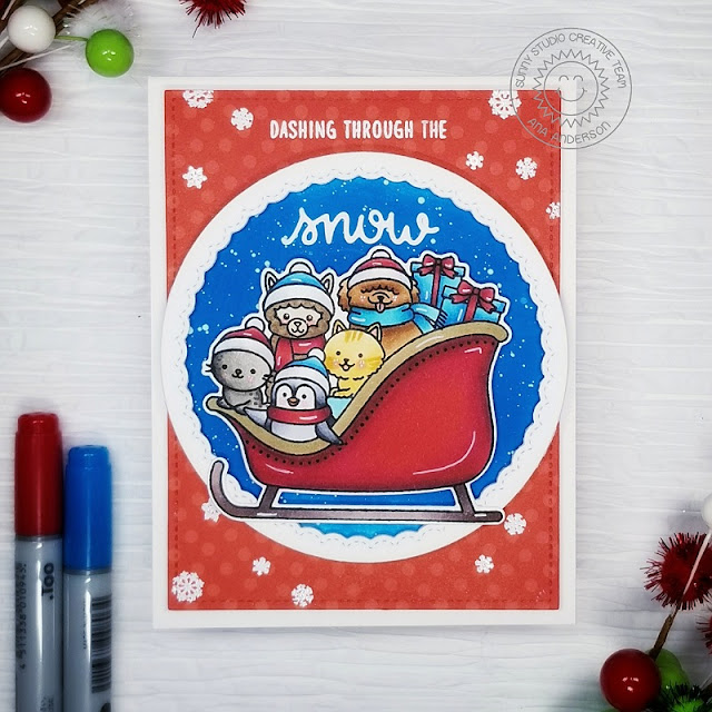 Sunny Studio Stamps: Sledding Critters Fancy Frame Dies Winter Holiday Card by Ana Anderson