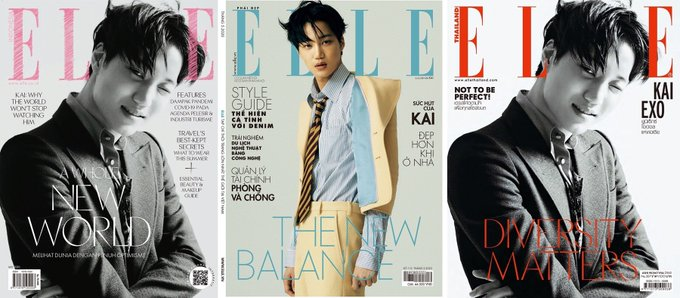 EXO Kai selected as the cover model for ELLE KOREA's April edition & also the face of ELLE's May edition in Indonesia, Thailand & Vietnam