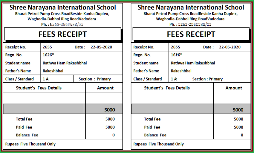 Fees Receipt pdf for Online Payment in School Management Software