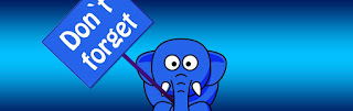 "Blue elephant holding a ""Don't Forget"" sign on a blue background"
