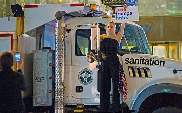 Lady Gaga protests outside Trump Tower following Donald Trump's win