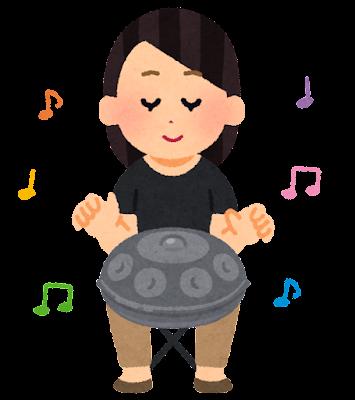 ハンドパンを演奏する人のイラスト(女性)