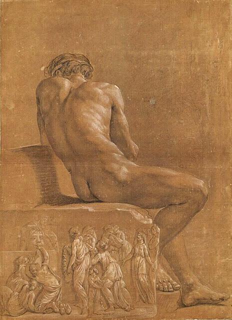 Johann Eleazar Schenau (1737-1806) Etude académique d'une homme nu assis sur un bas relief antique, 1797 Craie noire rehaussée de craie blanche sur papier bis Collection privée