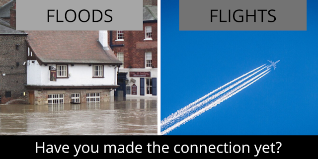 Flying leads to clinate change that causes flooding