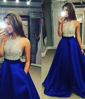 Backless Ball Gown Satin Tulle Floor-length Beading Elegant Halter Prom Dresses