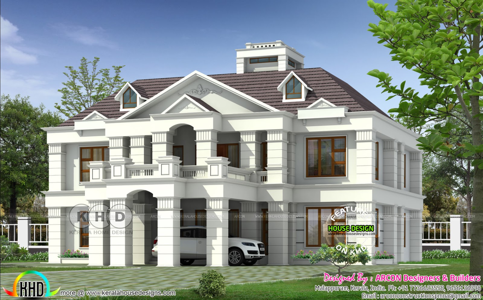 Colonial home plan by arcon designers builders kerala for Colonial home builders