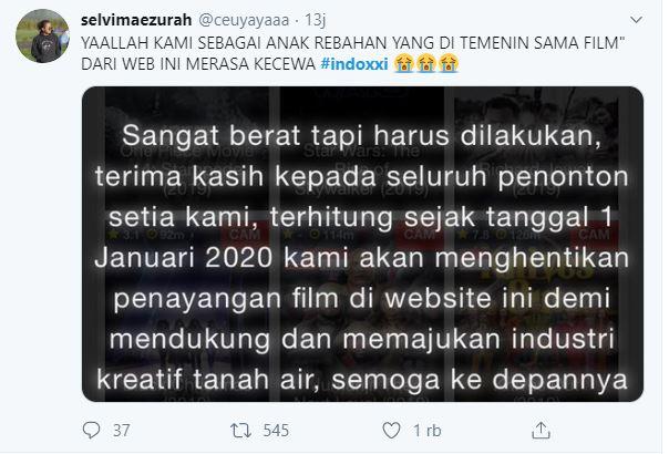 cuitan Lucu warga twitter tentang ditutupnya situs Indoxxi