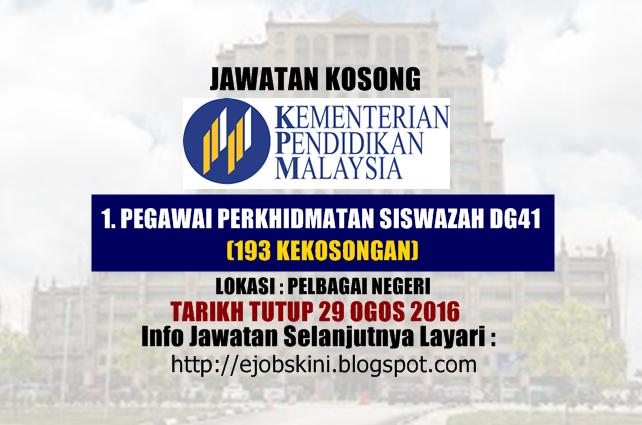 Jawatan kosong kementerian pendidikan malaysia (moe) ogos 2016