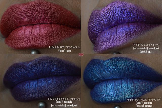 review, recensione, lip art alchemist holographic, moulin rouge nabla pure society nyx professional makeup, underground nabla, echo kat von d beauty