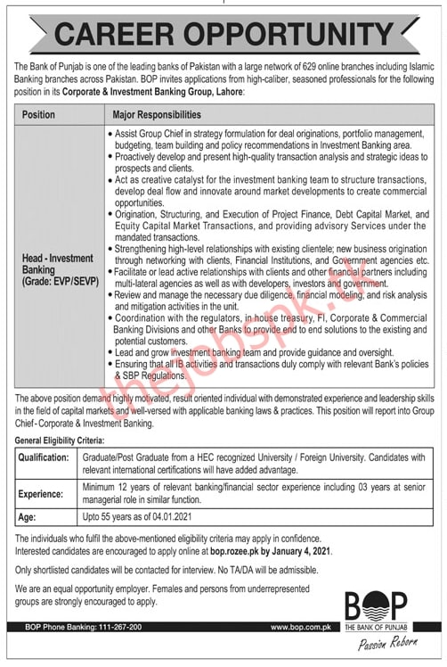 The Bank of Punjab BOP Jobs 2021 Latest