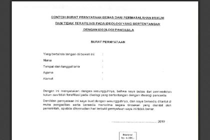 Surat Pernyataan Bebas dari Permasalahan Hukum dan Tidak Terafiliasi Pada Ideologi Yang Bertentangan Dengan Ideologi Pancasila