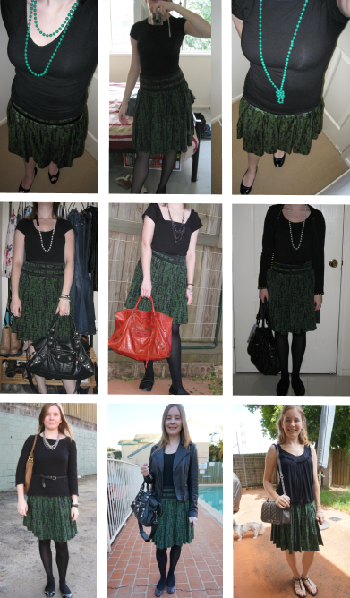 9 outfits with 1 French Connection green black printed pleated skirt