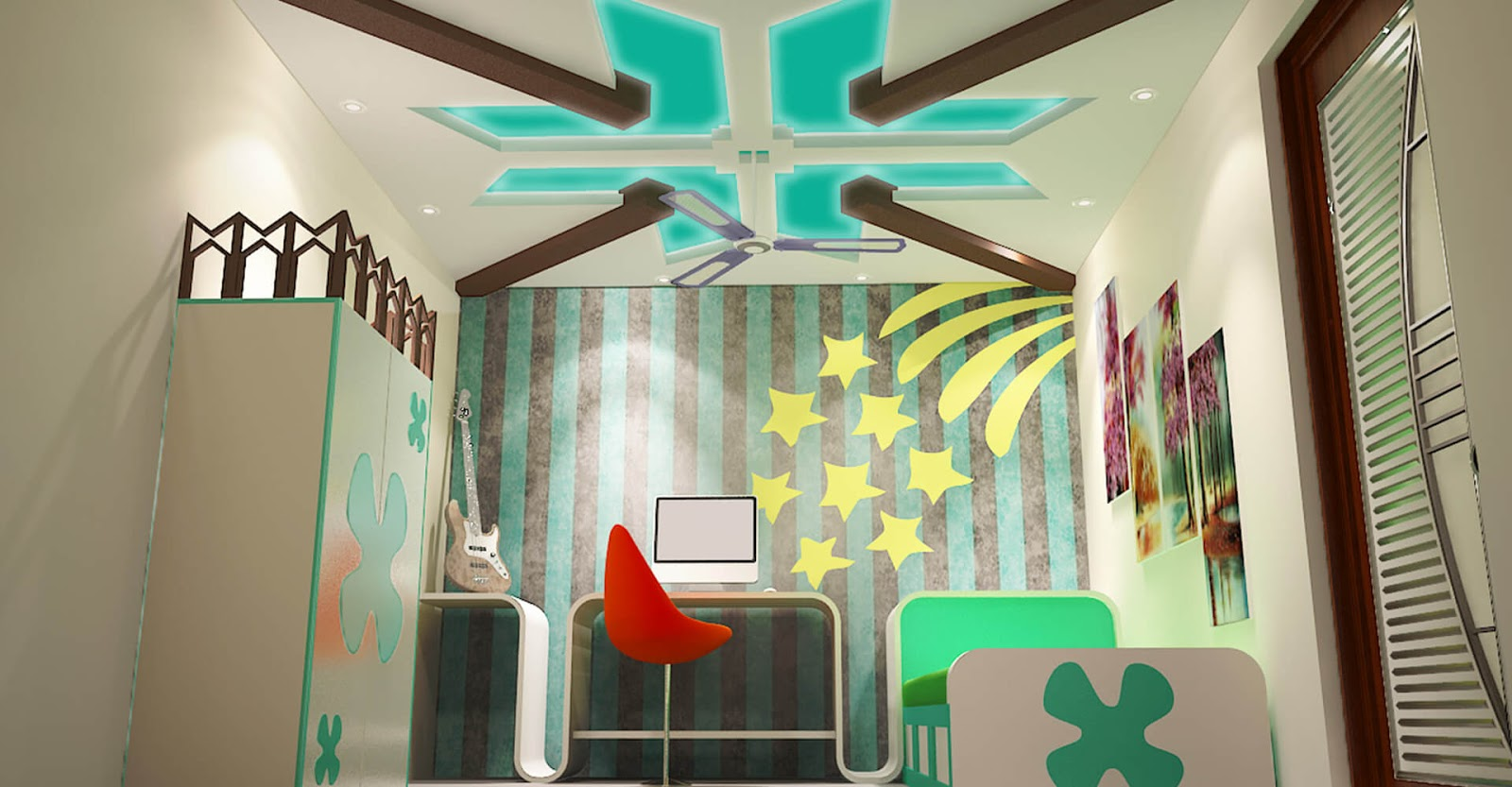 Gypsum Board False Ceiling Design Ideas For Kids Room Part 27