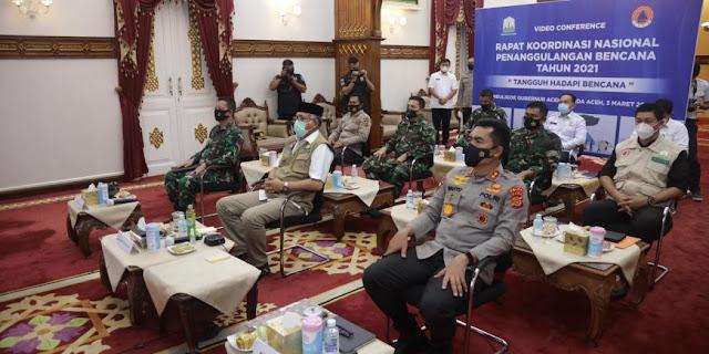 Gubernur Aceh Ikuti Rapar Koordinasi Nasional Penanggulangan Bencana Secara Virtual