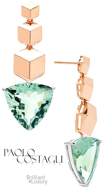 Brilliant Luxury♦Paolo Costagli 18kt Rose Gold Brillante® Earrings With Green Amethyst Pendants