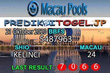 Prediksi Togel Wangsit Macau Pools Rabu 21 Oktober 2020