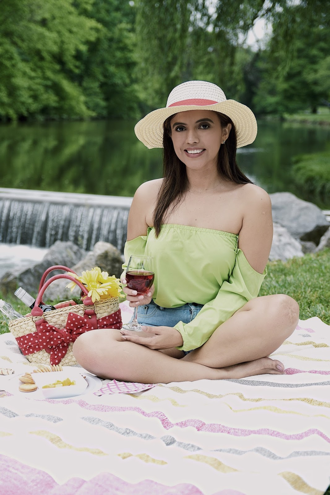 Picnic Day by Mari Estilo -Wearing: Shorts: SheIn  Top: SheIn Sandals: Charlotte Russe Blanket: west elm