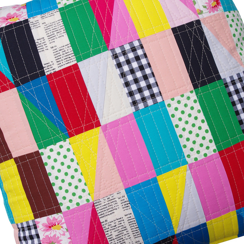 Modern Triangles (quilting detail) - Patchwork Pillow by Red Pepper Quilts