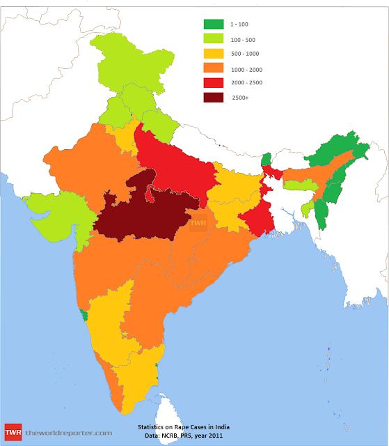Rape cases in India map