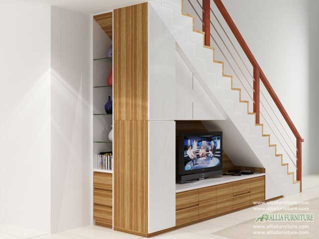 lemari di bawah tangga minimalis woody