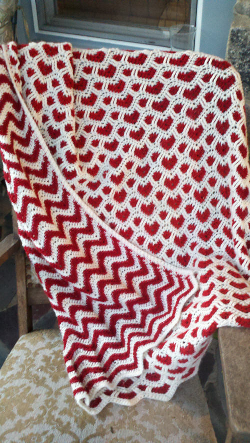 Hearts + Waves Afghan - Crochet Pattern