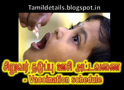thaduppusi, thaduppu oosi attavanai, vaccination chart for babies in tamilnadu,