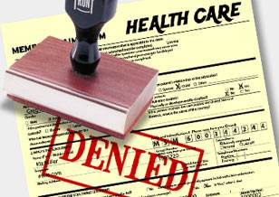 "Medical claim form with a ""DENIED"" stamp on it"