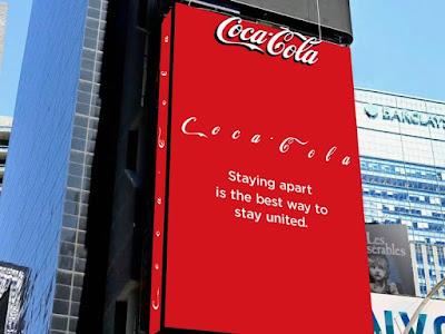 Coca cola message on social distancing