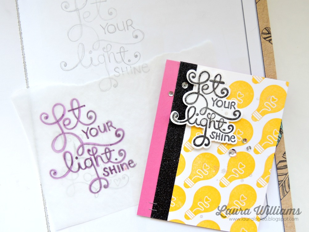 Handmade card with Let Your Light Shine sentiment, and covered in yellow stamped lightbulbs, accented with silver sequins, and black glittered washi tape.